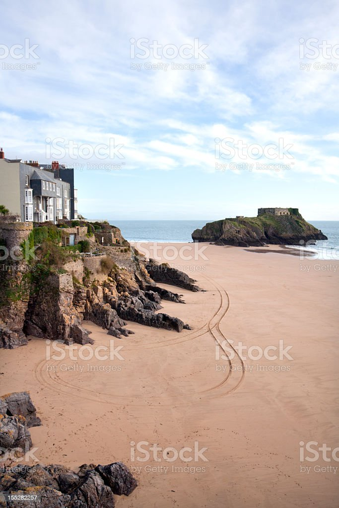 UK, Wales, Pembrokeshire, Tenby, homes above Castle Beach stock photo