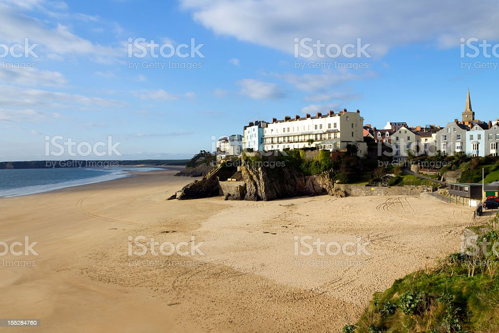 UK, Wales, Pembrokeshire, the town above empty Castle Beach, Tenby stock photo