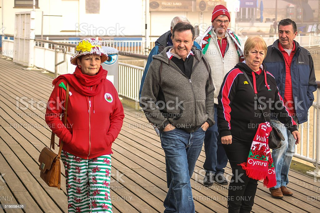 Wales Rugby Fans stock photo