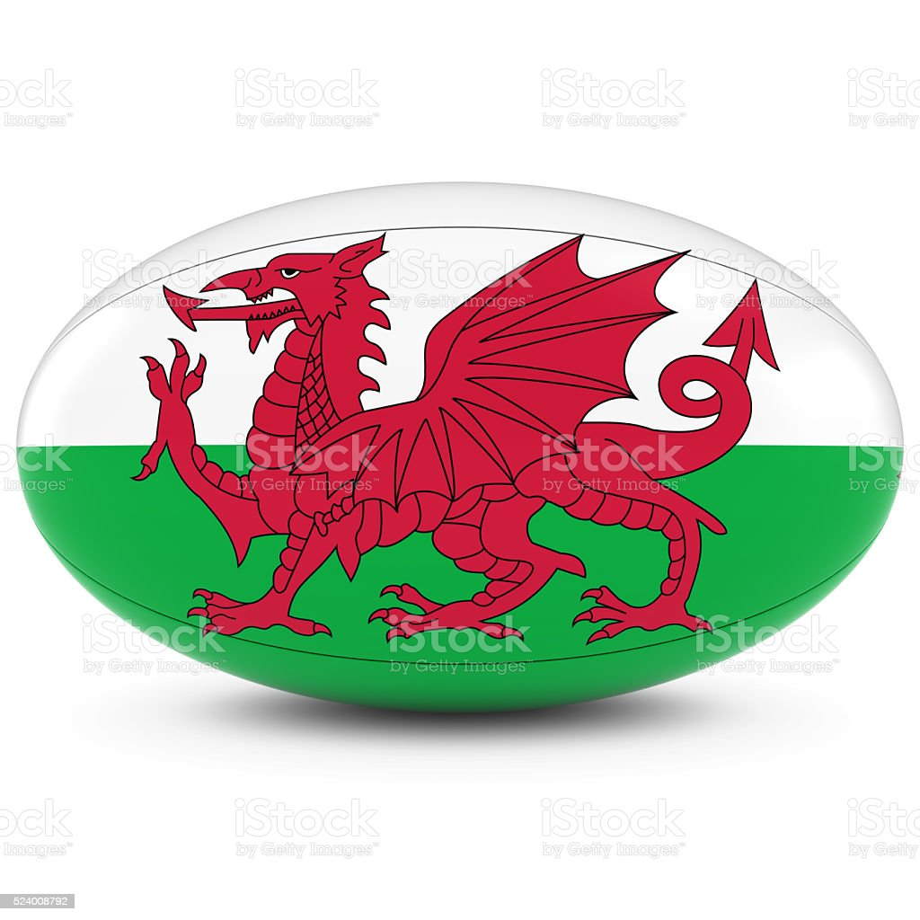 Wales Rugby - Welsh Flag on Rugby Ball on White stock photo