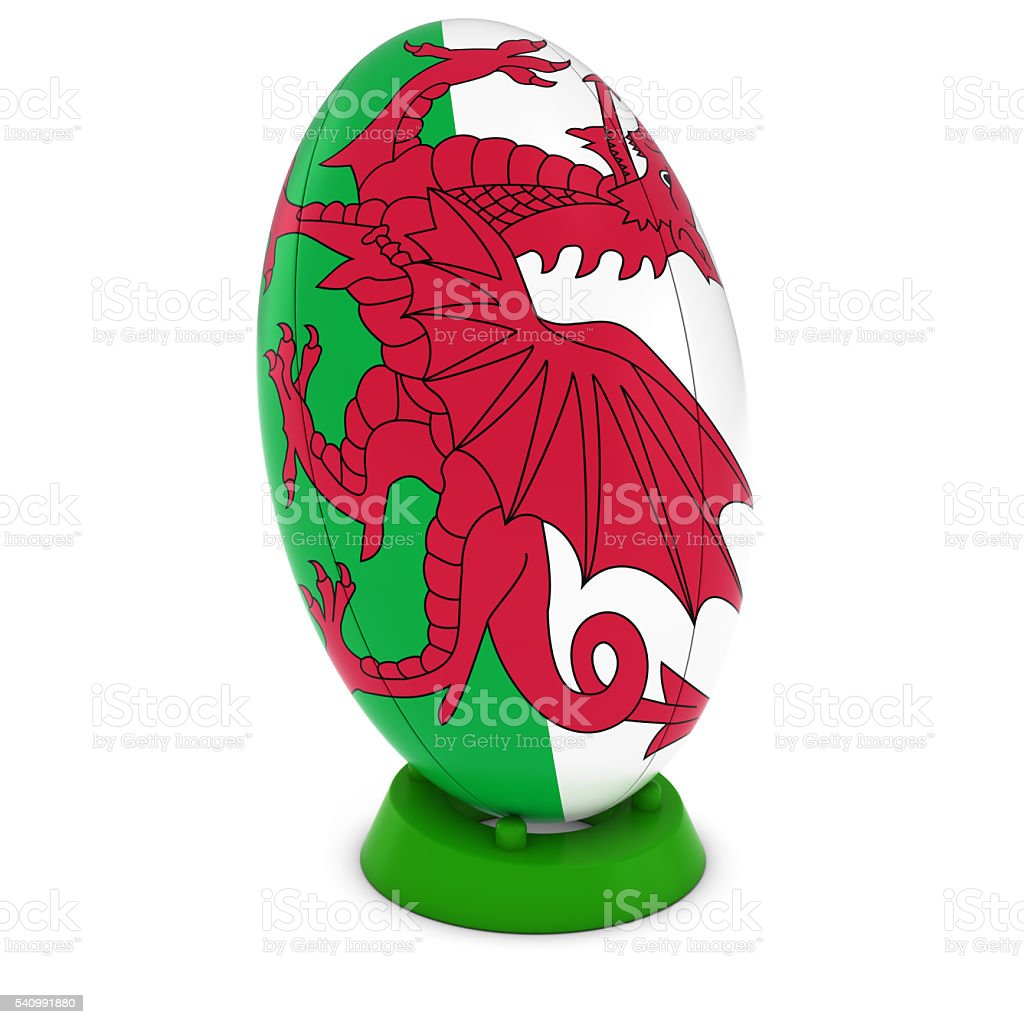 Wales Rugby - Welsh Flag on Standing Rugby Ball stock photo
