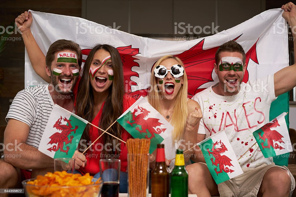 Wales soccer fans cheering stock photo