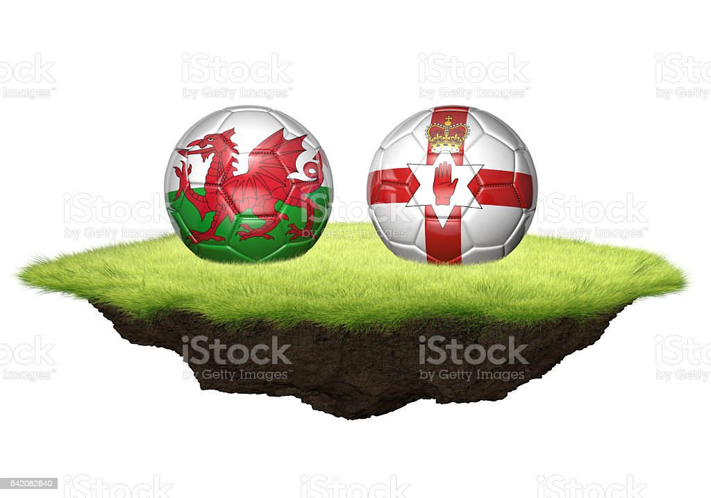Wales vs Northern Ireland team balls for football championship tournament stock photo