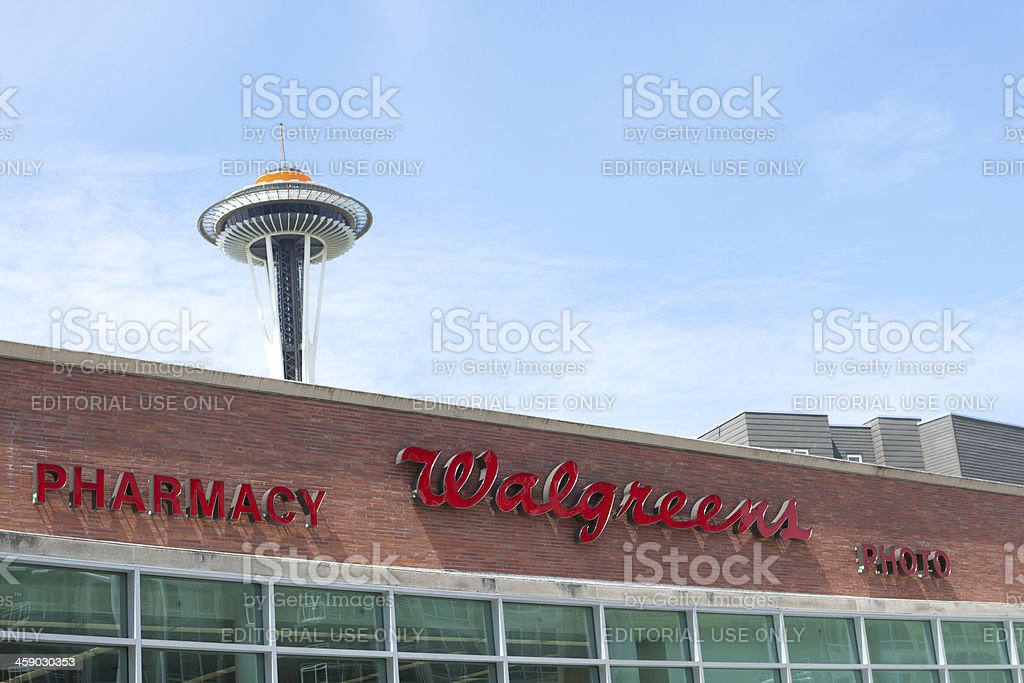 Walgreens and the Space Needle stock photo