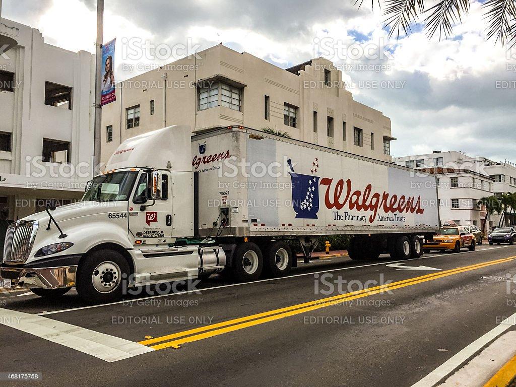 Walgreens Huge truck on Miami Beach street stock photo