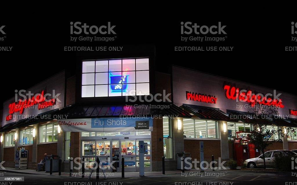 Walgreens Pharmacy at Night stock photo