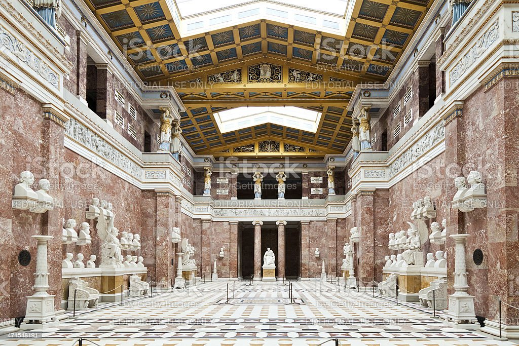Walhalla hall of fame interior in Germany Donaustauf stock photo