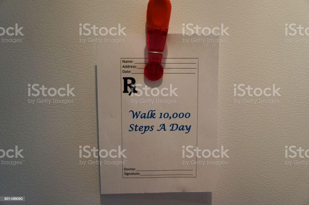 Walk 10,000 Steps a Day, Prescription stock photo
