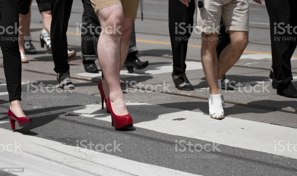 Walk A mile In Her Shoes stock photo