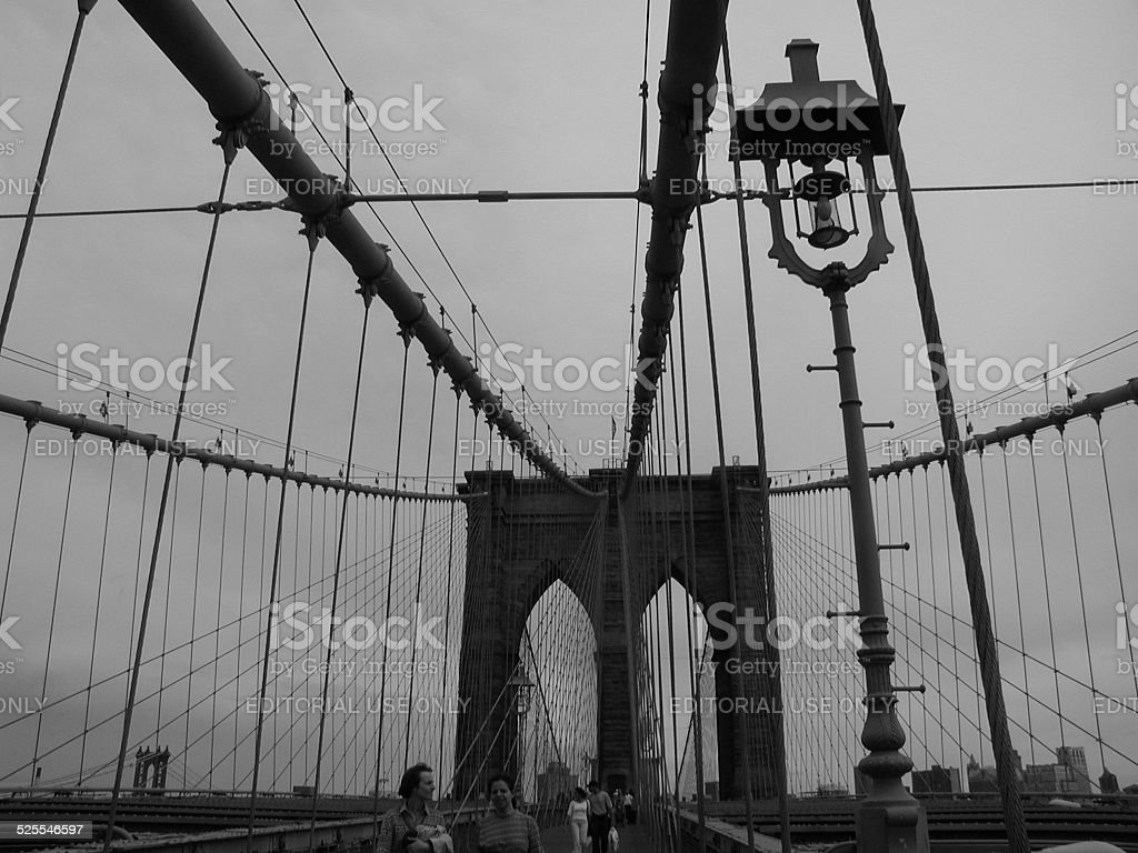 Walk Across Brooklyn Bridge stock photo