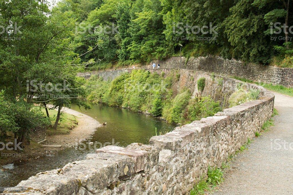 Walk along the river in Saint Jean Pied de Port stock photo