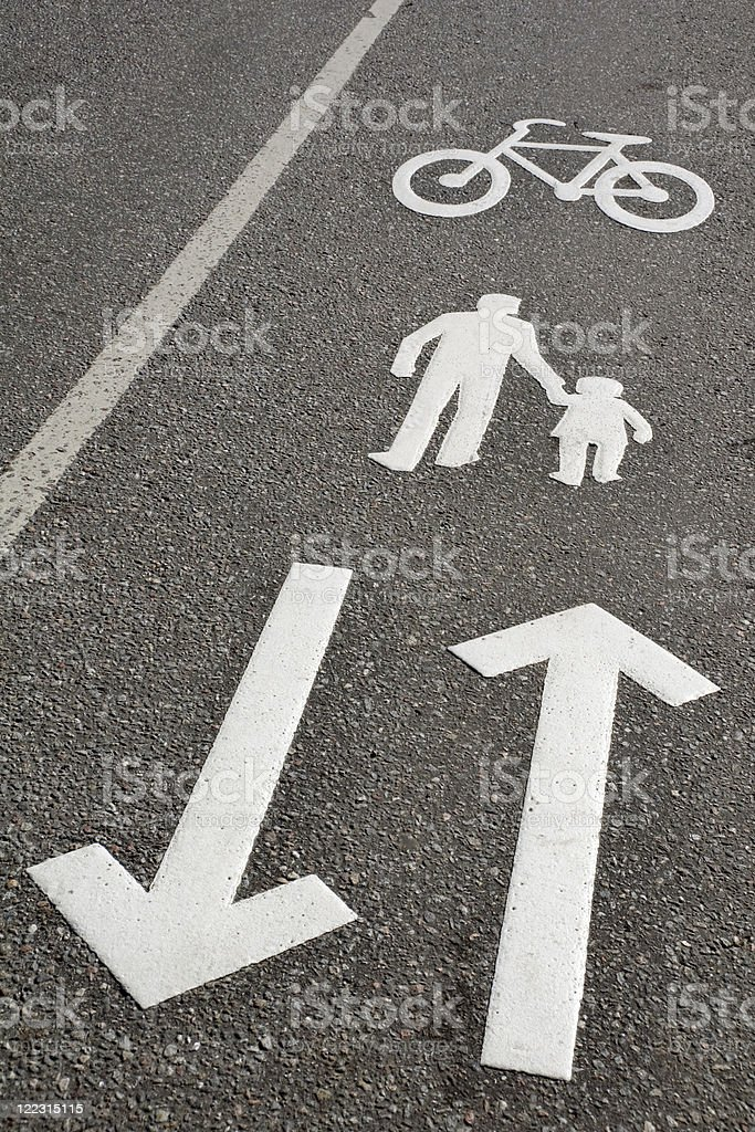 Walk and bike lane royalty-free stock photo