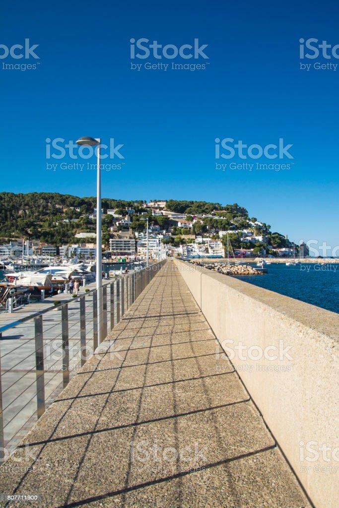 Walk at L'Estartit port on the Costa Brava stock photo