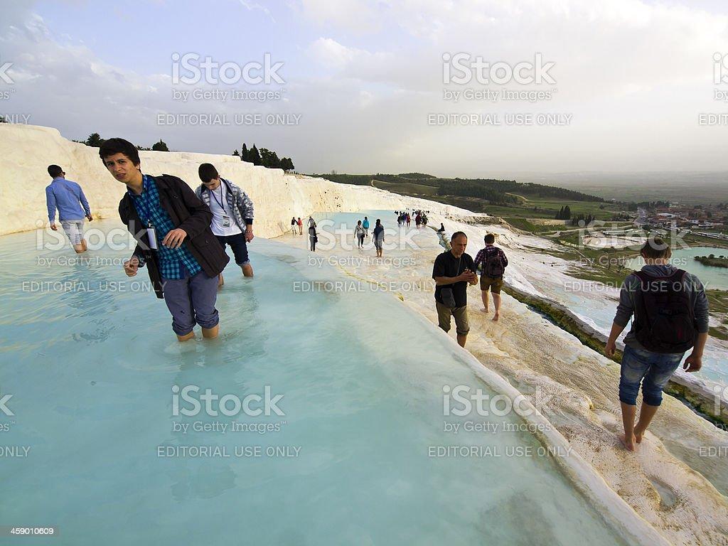 Walk at Pamukkale stock photo