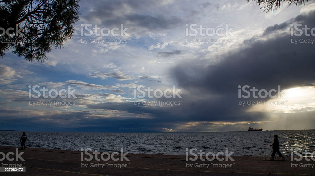 walk in a cloudy day stock photo