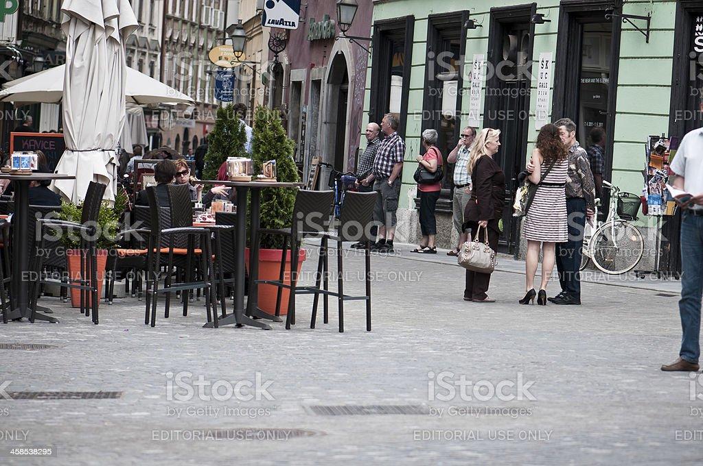 Walk in Ljubljana city centre stock photo