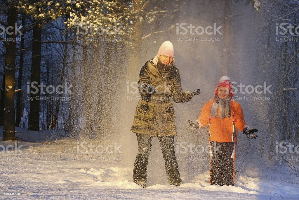Walk in snowy forest royalty-free stock photo