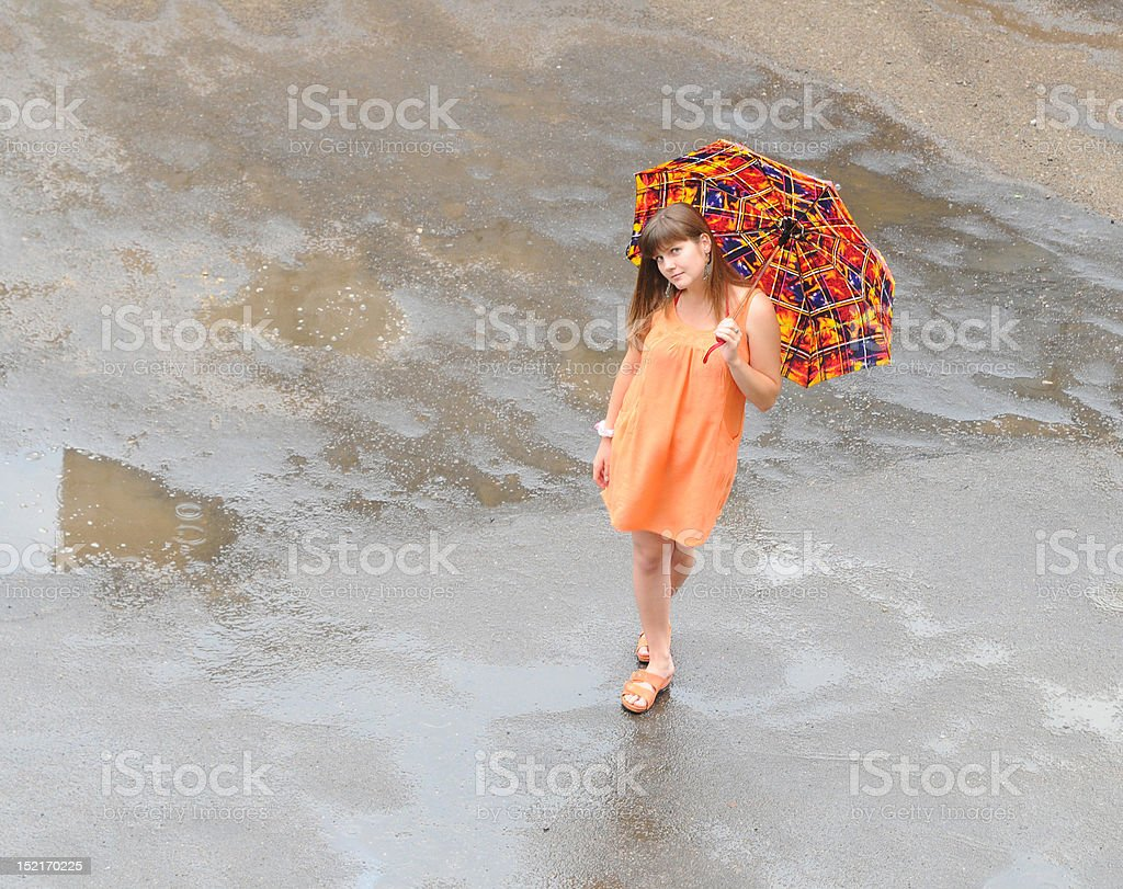 Walk in the rain royalty-free stock photo