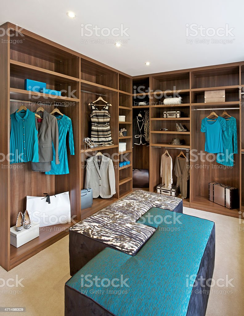 Walk in wardrobe and turquoise stock photo