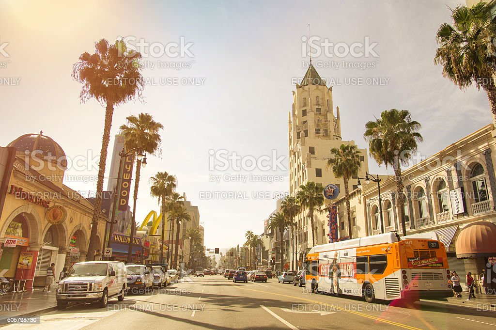 Walk of Fame on Hollywood Boulevard in Los Angeles California. stock photo