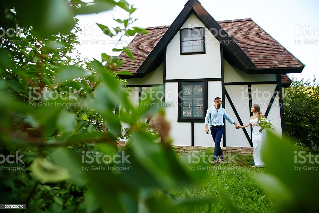 Walk of newlyweds stock photo
