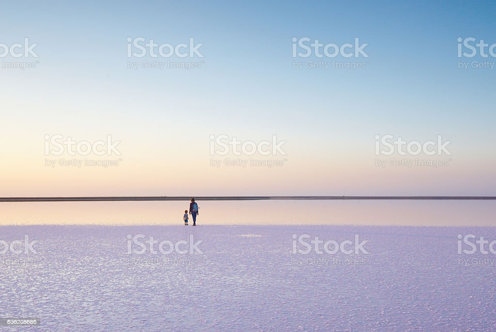 walk on a salt lake stock photo