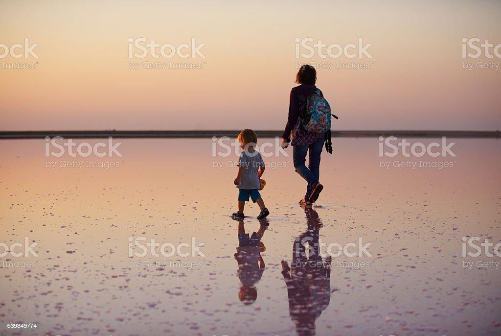 walk on a salt lake stock photo