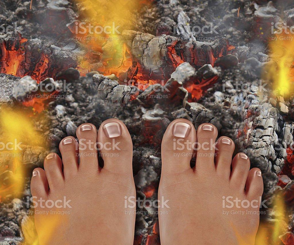 Walk On Fire stock photo