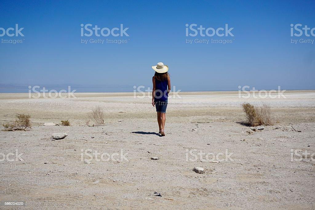 Walk on the Beach - Salton Sea stock photo