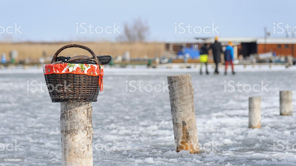 Walk on the ice of Lake Neusiedl stock photo
