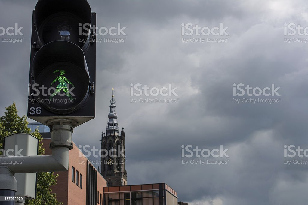 Walk the light is a green girl stock photo