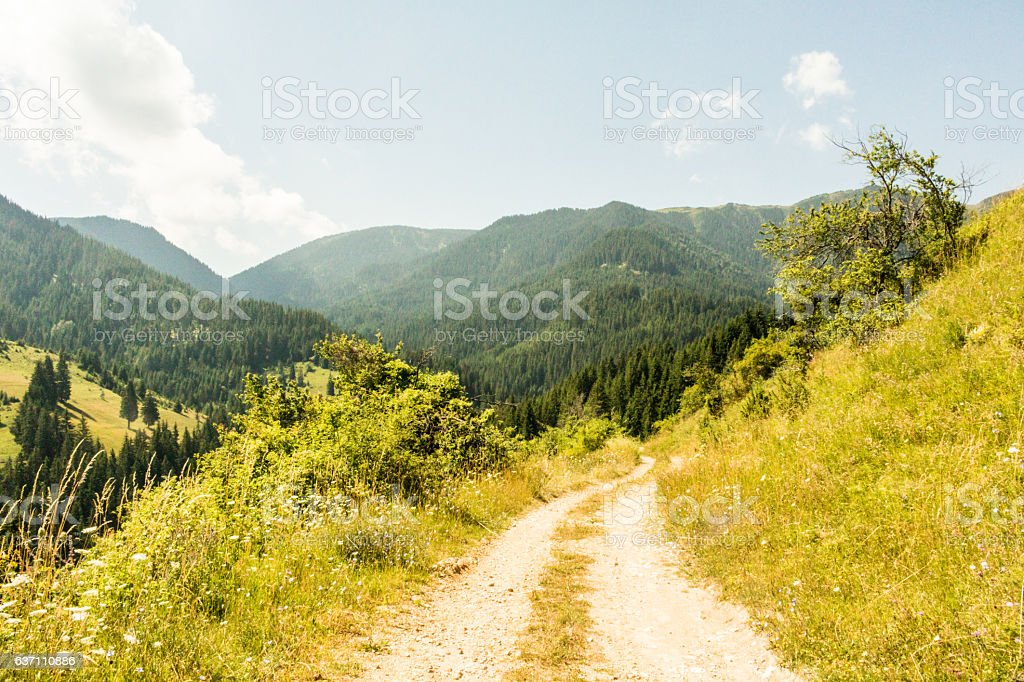 Walk through the mountains stock photo