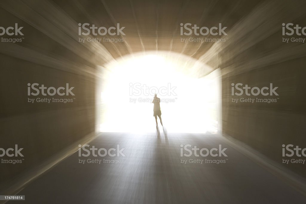 Walk to the light stock photo