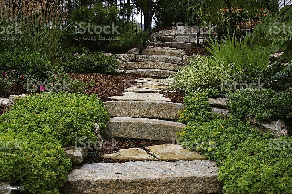 walk way in rock garden royalty-free stock photo