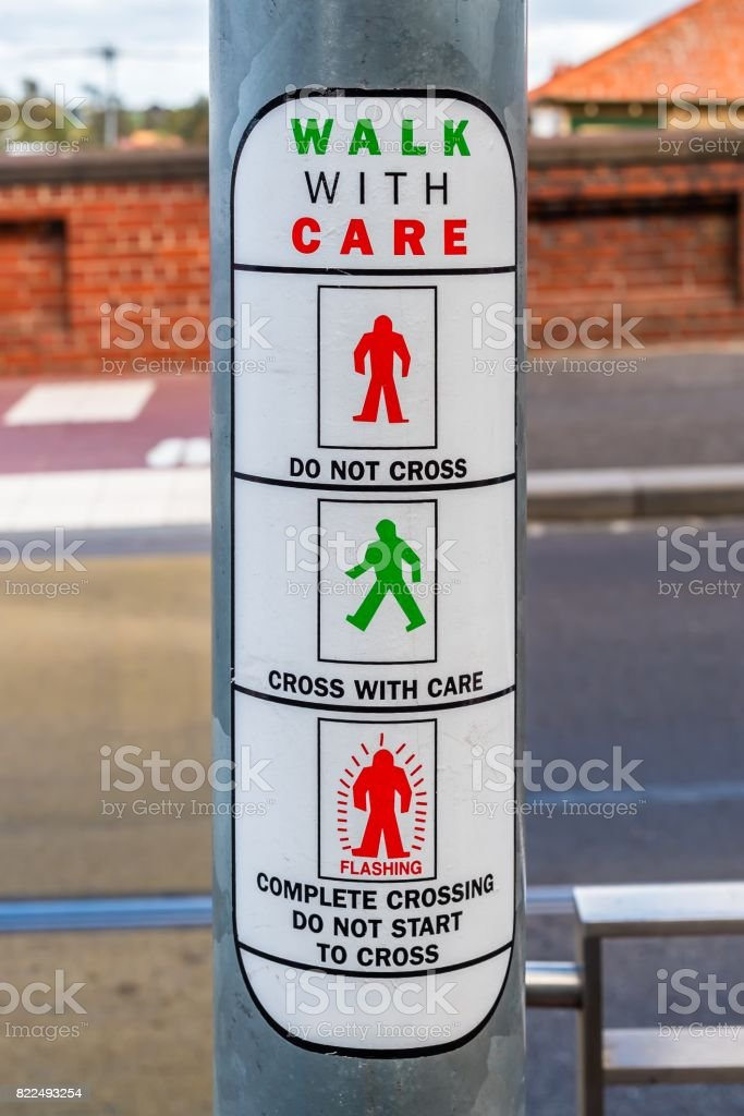 Walk with care sign stock photo