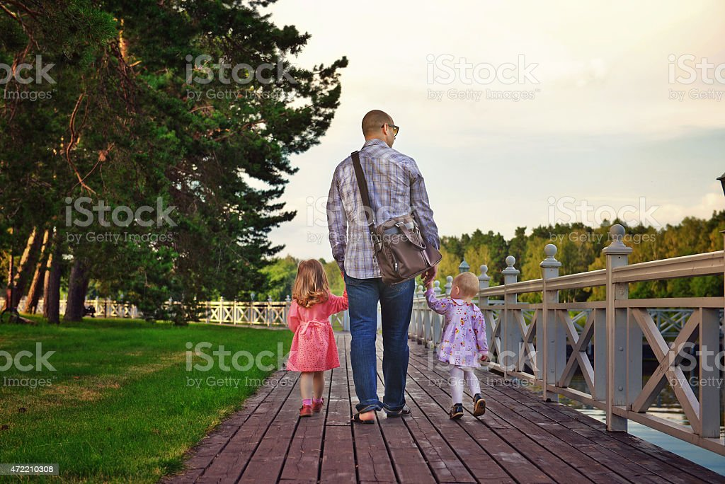 Walk with dad royalty-free stock photo