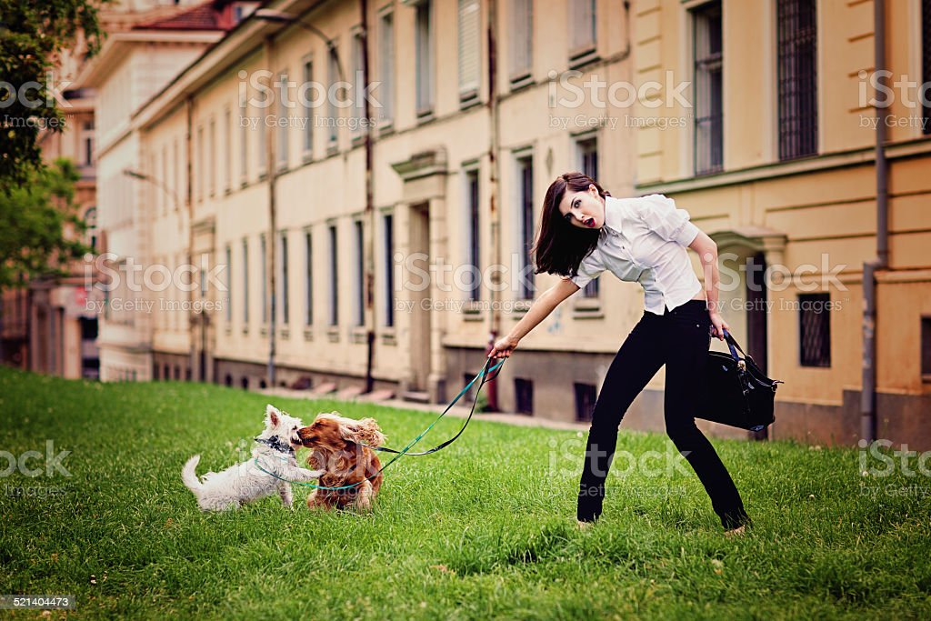 Beautiful girl is walking and playing with her dogs