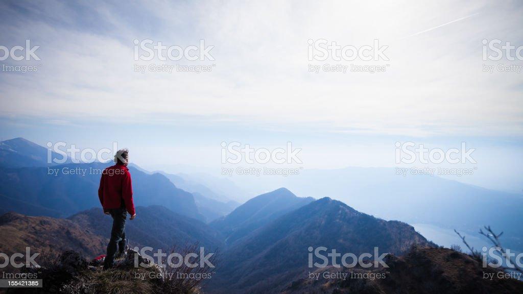 Walker Hiker Men on top of the Mountain stock photo