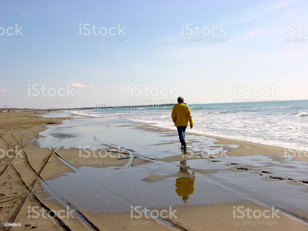 walker on the beach royalty-free stock photo