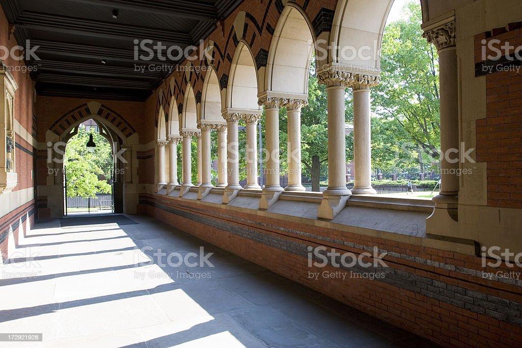 Walker porch in Memorial Hall, Cambridge, MA stock photo
