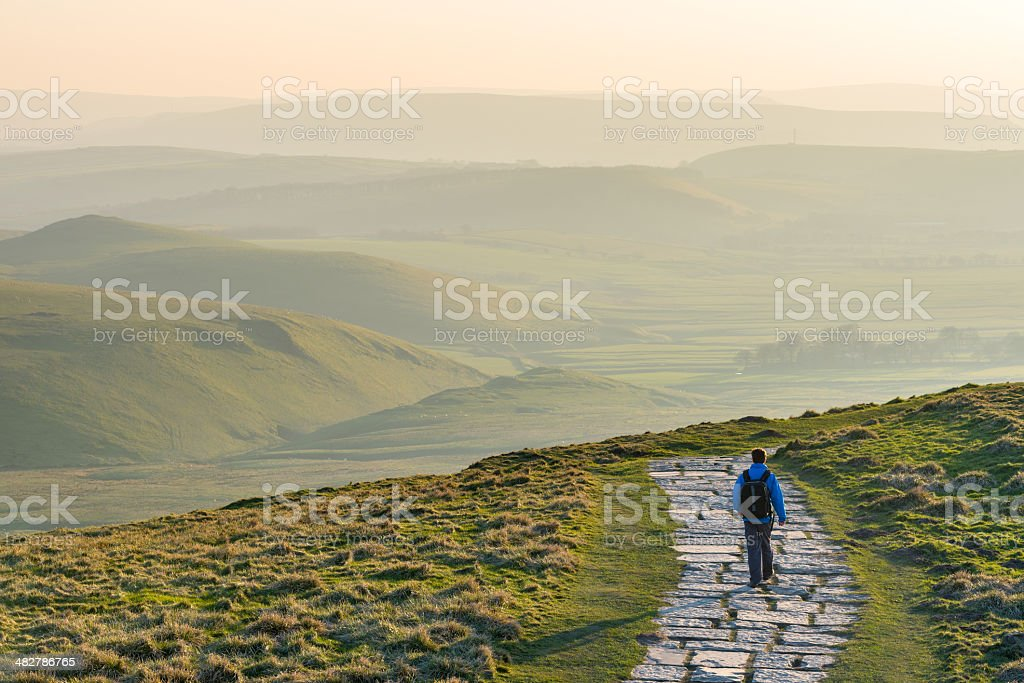 Walker/Hiker in the Peak District National Park, England stock photo