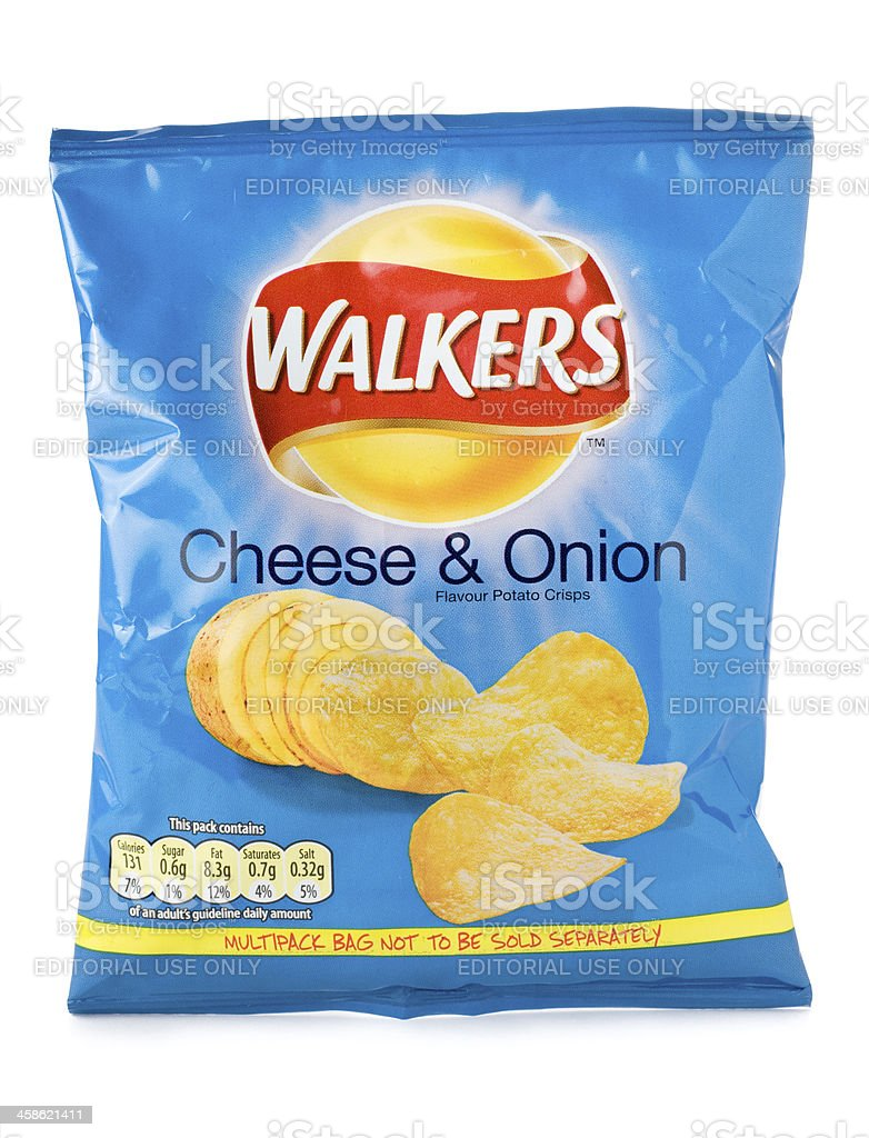 Walkers cheese and onion crisps on a white background stock photo