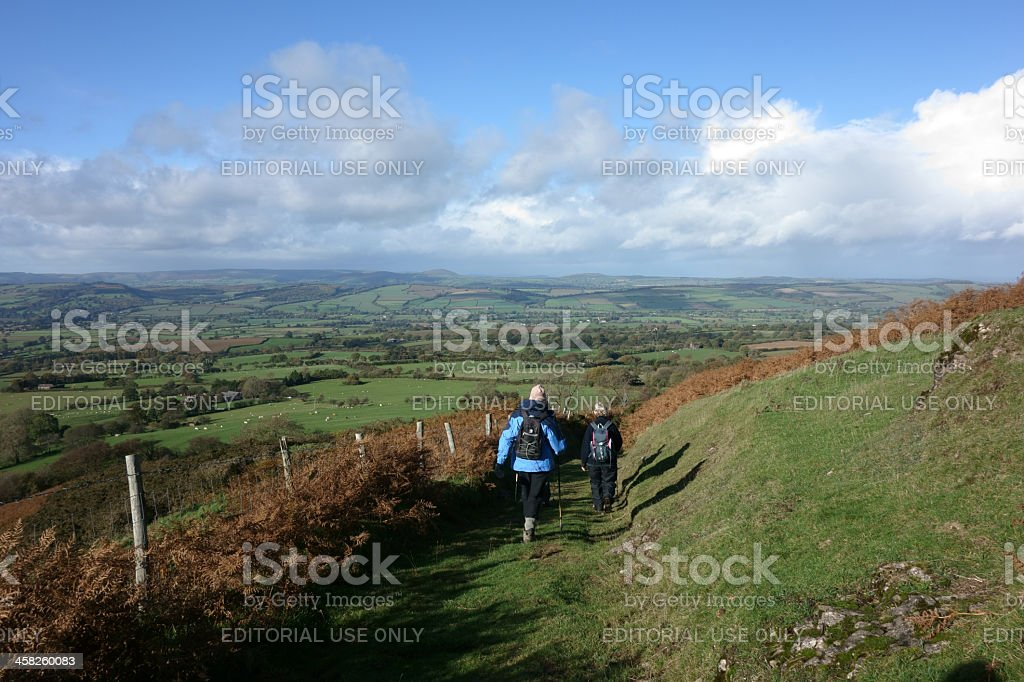 Walkers in the landscape. stock photo