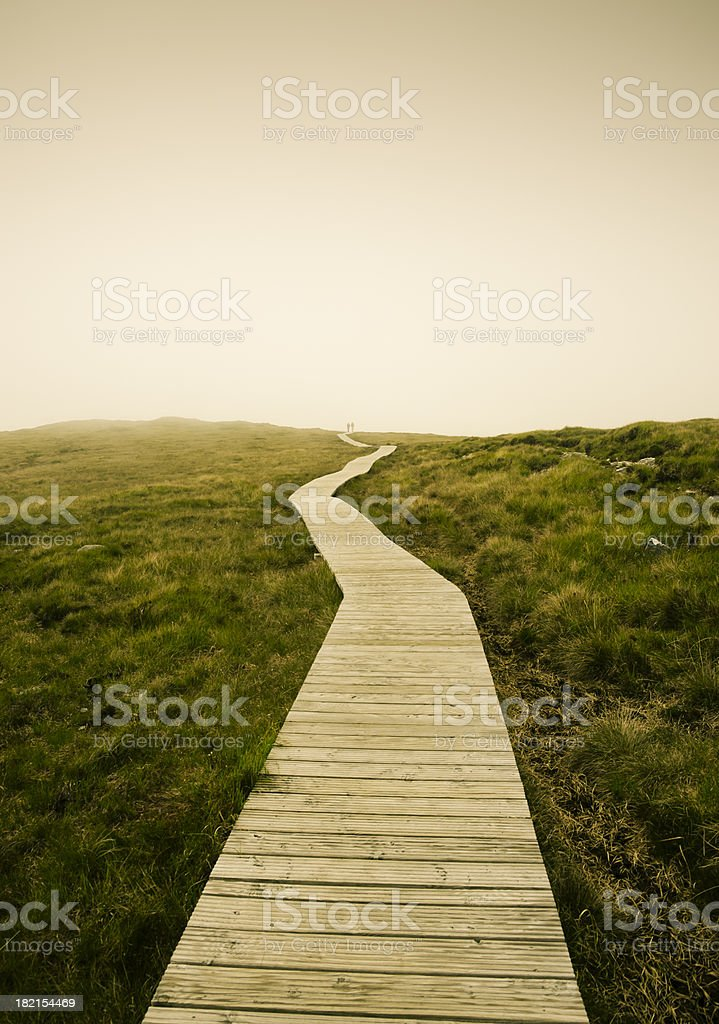 Walkers in the mist royalty-free stock photo