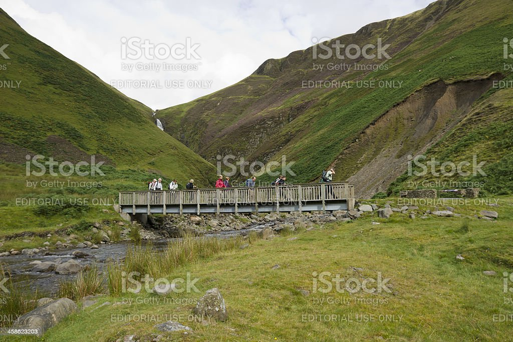 Walkers in the Scottish borders stock photo
