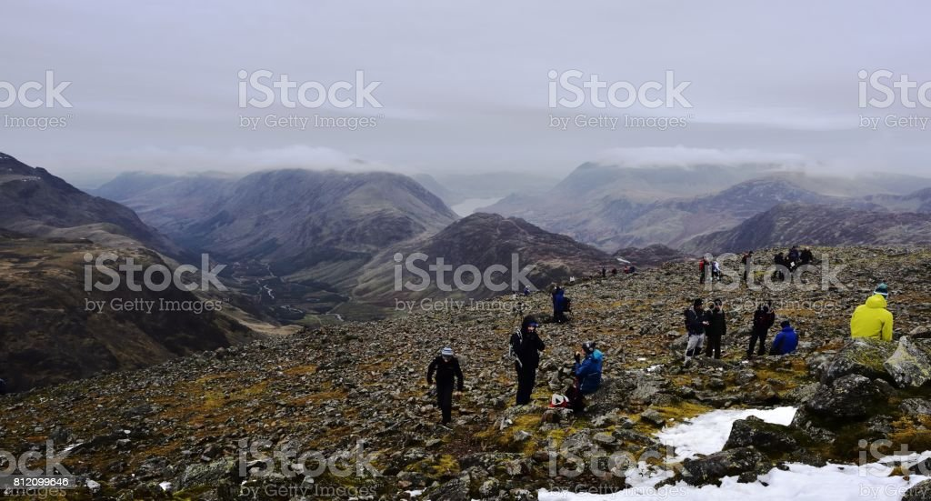 Walkers on Great Gables stock photo