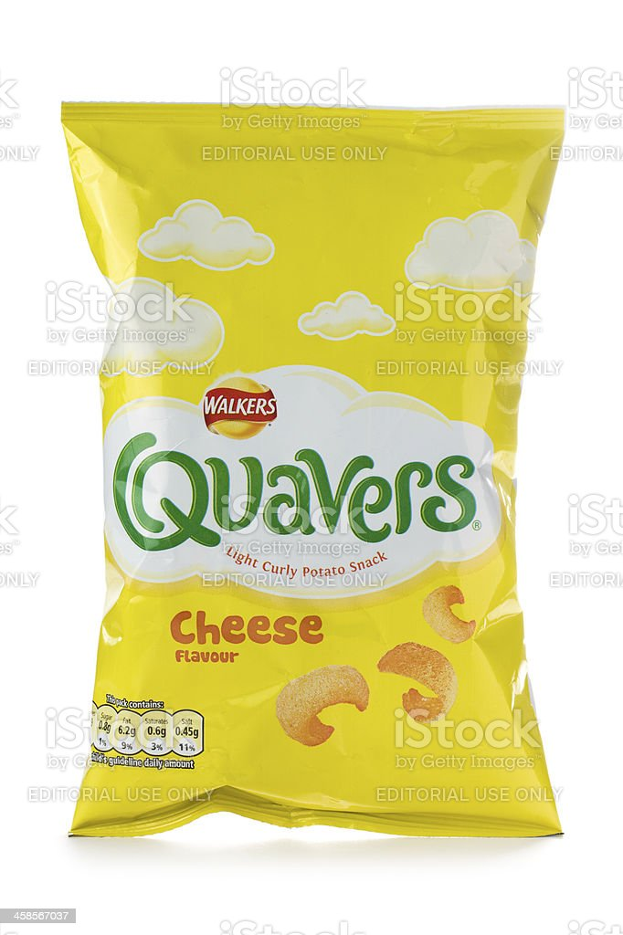 Walkers Quavers cheese flavour curly crisps on a white background stock photo