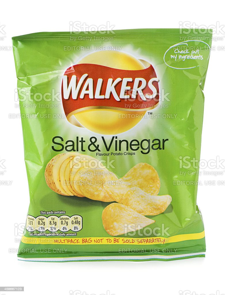 Walkers salt and vinegar crisps on a white background stock photo