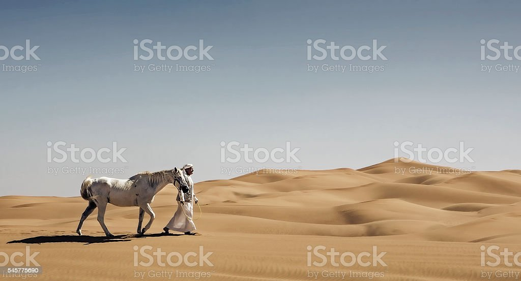 Walking a horse in the desert stock photo