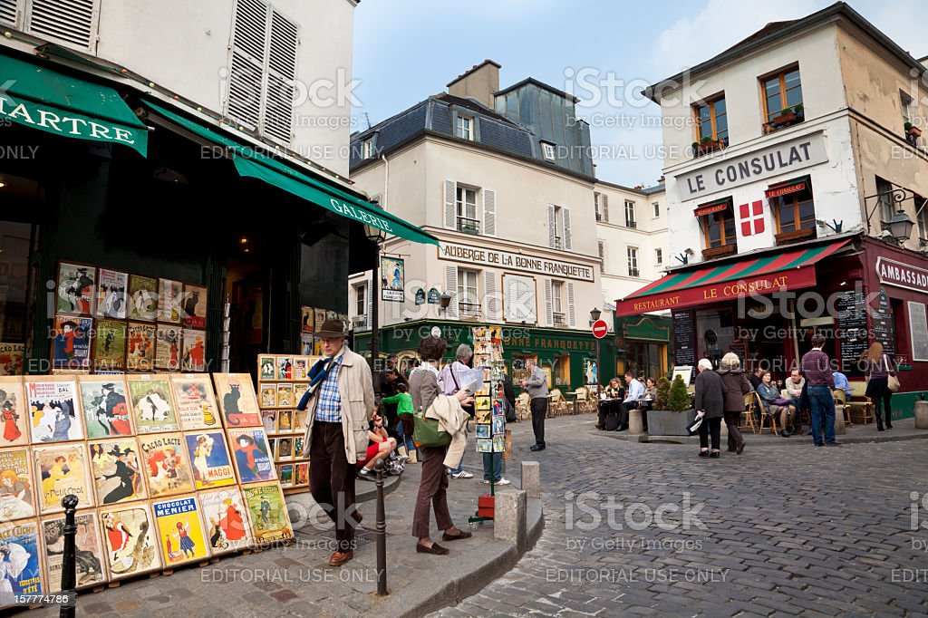 Walking about Montmartre streets stock photo